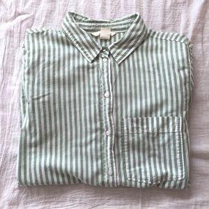H&M Button Down Cotton Shirt Pin Stripe Green